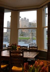 Rushen Castle from our dinner spot in Casteltown